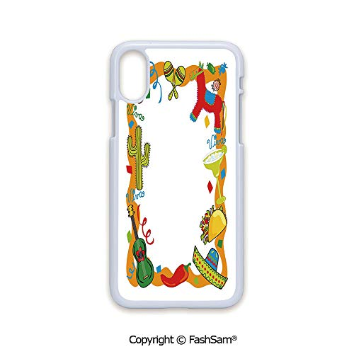 Fashion Printed Phone Case Compatible with iPhone X Black Edge Cartoon Drawing Style Mexican Pinata Taco Chili Pepper Sugar Skull Pattern Guitar 2D Print Hard Plastic Phone Case]()