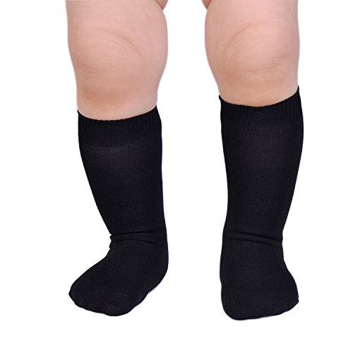 Epeius Unisex-Baby Seamless Classic Nylon Knee Highs Infant Boys/Girls Uniform Stockings Dress Knee Socks for 3-9 Months,Black (Baby Dress Socks)