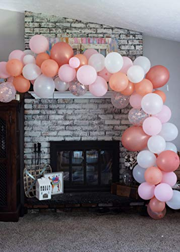 Vivuzono Balloon Arch Garland Kit | Pink Rose Gold White Balloons in Assorted Sizes | Decorations for Parties Wedding Baby Shower Graduation | Includes Glue Dots Strip Hashe]()