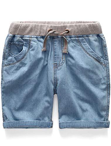 (Mallimoda Boys Denim Jeans Washed Pull-On Shorts (2-3 Years, Light Blue) )