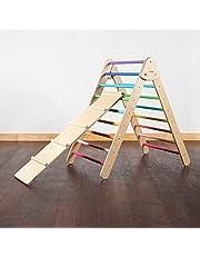 WIWIURKA - Triángulo de Escalar grande de Madera con Rampa Resbaladilla Pastel - Desarrolla la imaginación de tu bebé - Edad de 1 a 6 años - 87cm x 66cm. - Hecho a Mano…