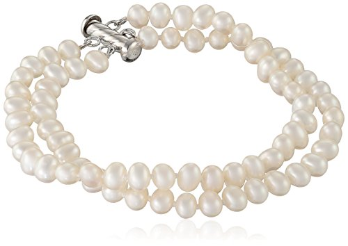 Sterling Silver 2-Row White Freshwater Cultured A Quality Pearl Bracelet 5-5.6mm , 8