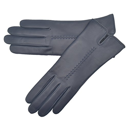 Lambland Ladies Super Soft Leather Gloves with Stitch Detail in Navy / Size Large (Lady In The Navy Gloves)