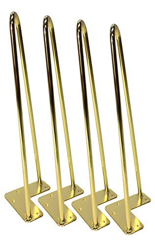 Hairpin Table Legs (Set of 4), Heavy Duty Brass Rods for Industrial Design Look (16 inch)