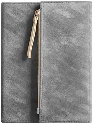 NiuDian Büro NWD B6 Tragbare Suede Abdeckung Tri-Falten Notebook-Tagebuch-Buch Mit Aufbewahrungstasche (Dark Coffee) Schreibwaren (Color : Light Grey)