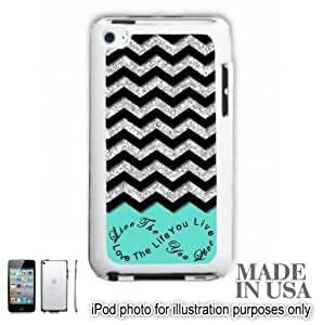 Live the Life You Love Infinity Quote (Not Actual Glitter) - Mint Black Chevron Pattern iPOD 4 Touch 4th Generation Hard Case - WHITE by Unique Design Gifts