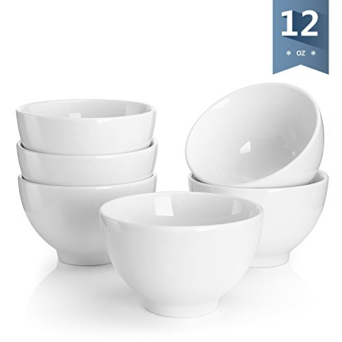Sweese 1307 Porcelain Small Asian Bowls - 12 Ounce for Rice, Snack, Salad, Ice Cream - Set of 6, White - Baking Days Red Dinnerware