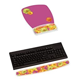 3M Mouse Pad with Gel Wrist Rest + Keyboard Gel Wrist Rest, Daisy Design