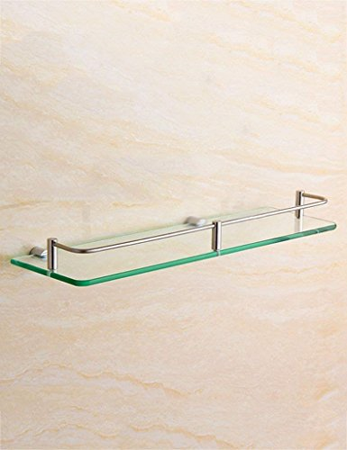 DEE Bathroom Glass Shelf Stainless Steel Glass Shelf Bathroom Hardware Pendant Bathroom Single Layer Makeup Platform Rack Bathroom (Structure Lavatory)