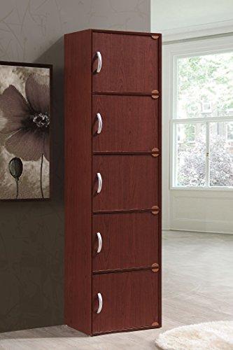 Hodedah 5 Door, Five Shleves, Enclosed Storage Cabinet, Mahogany by HODEDAH IMPORT (Image #2)