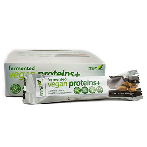 Genuine Health Fermented Vegan Proteins+ bar, Dark Chocolate Almond, box of 12 - 1.94 oz bars