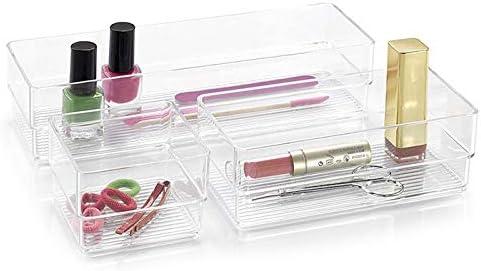 PlasticForte - Organizador de cosméticos acrílico para maquillaje, caja de almacenamiento de joyas, transparente, Pack of 3 Oarganizers: Amazon.es: Hogar