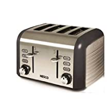 Nesco T1600-13 4-Slice Stainless Steel Toaster with Trim, Gray