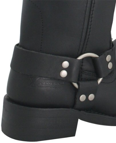 Xelement 2442 Classic Womens Black Full Grain Leather Harness Motorcycle Boots - 8