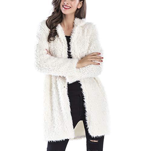 Goyfeelip Piel sintética Abrigo Largo Mujer Invierno más tamaño Solapa Chaqueta de Lana Chaqueta Outwear (Color : White, Size : XL)