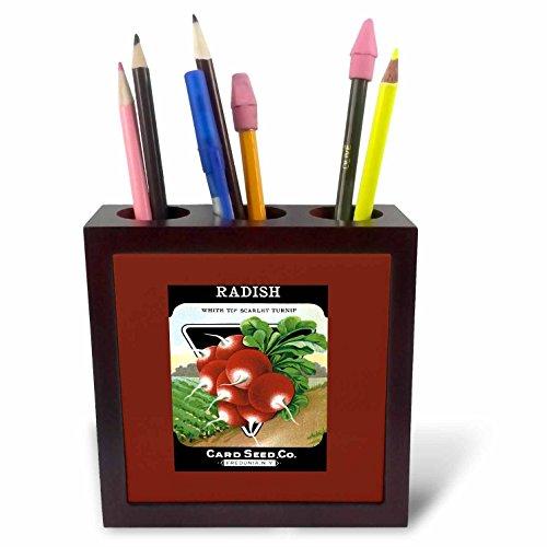 3dRose ph_170717_1 Radish White Tip Scarlet Turnip Root Vegetable Seed Packet-Tile Pen Holder, 5
