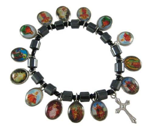 (Zeckos Hematite Bead Stretch Bracelet Dangle Christian Scenes)
