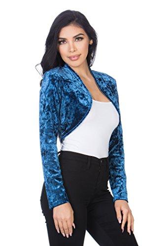 Fashion Secrets Women`s Collarless Open Front Velvet Bolero Shrug Cardigan Cropped Jacket (Small, Denim Blue) (Collarless Cropped Jacket)