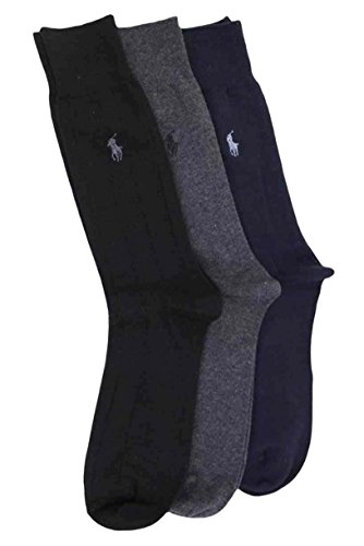 Polo Ralph Lauren Men's 3 Pack Dress Socks Blue/Gray/Black 10-13