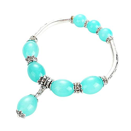 FAVOT New Creative DIY Handmade Bracelet Natural Agate Single Circle Beads National Wind Pendant Bangle for Women Wedding Jewellery (Blue) ()