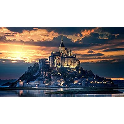 Classic Jigsaw Puzzle 1000 Piece Adult Children Puzzle DIY Mont Saint-Michel France Wooden Puzzle Modern Home Decor Festival Gift Intellectual Game Wall Art 75x50cm: Toys & Games