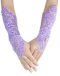 Light Purple Embroidered With Sequin Bridal Gloves