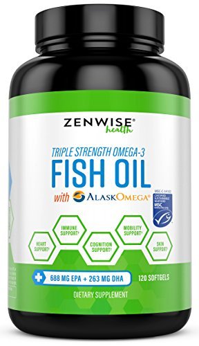 Triple Strength Omega 3 Fish Oil - with MSC Certified Sustainable AlaskOmega - Essential EPA + DHA Fatty Acids for Skin, Heart & Joint Support - No Fish Burps - 120 Softgels
