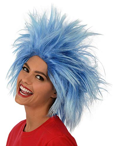 Kangaroo's Funky Spiky Blue Wig; Costume Wig (Thing One And Thing Two Costumes For Teens)