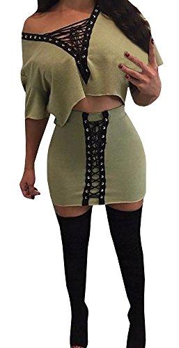 Bigyonger Women's Sexy V Neck Lace Up 2 Pieces Outfits Dress Set Club Wear