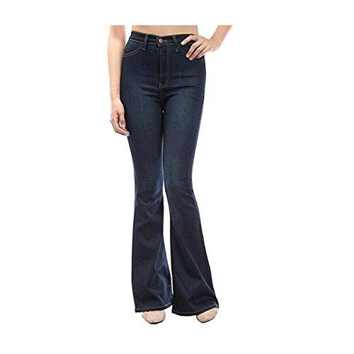 Alta Vestibilità Grandi Gambe Fluida Vita Da Jeans Donna Lunghe Dimensioni Scuro Ampia Blu Pantaloni Oudan Di Chic A 4Xz6xqw