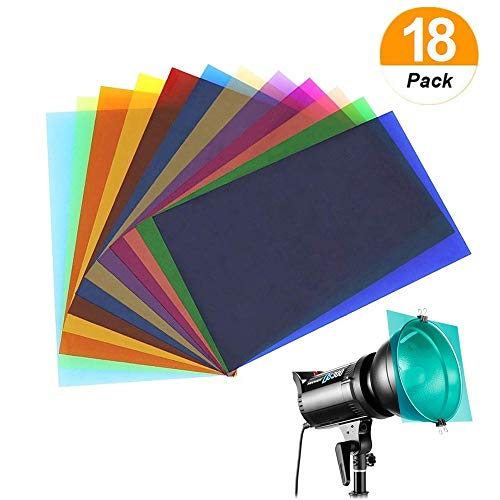 (Sakolla 18 Pieces Colored Overlays Light Gels Transparency Color Film Plastic Sheets Correction Gel Light Filter Sheet 8.5 by 11 Inches 9 Assorted Colors)