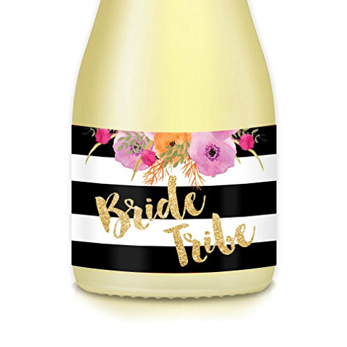 Wedding Bride Tribe Mini Champagne Bottle Labels, Bridal Propose Bridesmaid, Maid Matron of Honor, Bachelorette Engagement Party, Bridal Shower 20 Decals Great for Gift Bags Boxes Favors 3.5