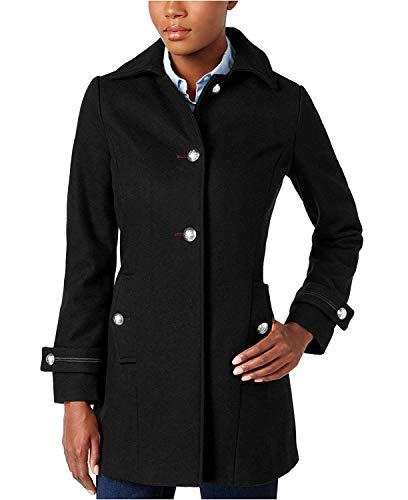Nautica Women's Button-Front Military Peacoat Black Small