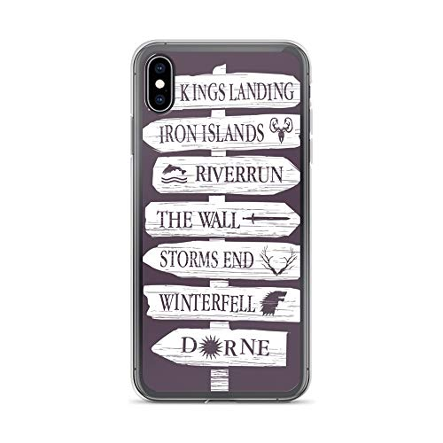 iPhone Xs Max Case Anti-Scratch Television Show Transparent Cases Cover Alternative Game of Thrones Sign Locations Tv Shows Series Crystal Clear