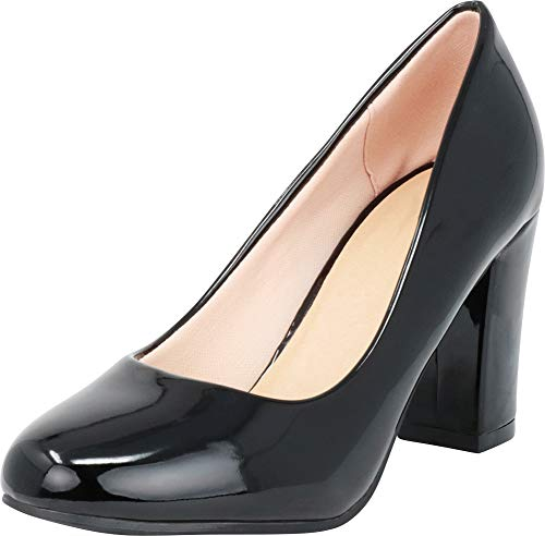 Cambridge Select Women's Classic Round Toe Chunky Wrapped Block High Heel Pump,8.5 B(M) US,Black Patent PU