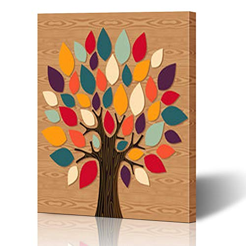 Alfredon Painting Canvas Wall Art Print Diversity Concept Tree File Nature Colorful Stretched Wooden Frame Artwork 12 x 16 Home Decor Bedroom Living Room (Diversity Poster Pack)