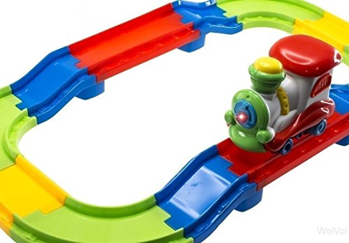 - WolVol Attractive Colorful Toddler Train Set with Lights and Sound, Easy Tracks Assembly, Train Goes Around By It Self