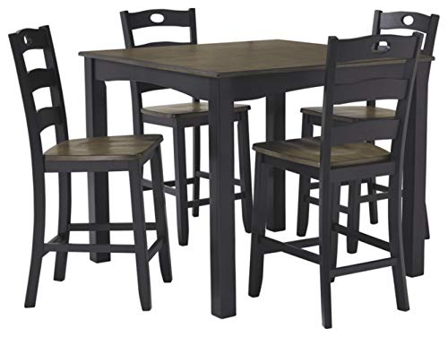 Signature Design by Ashley D338-223 Froshburg Counter Height Dining Room Table and Bar Stools (Set of 5), Grayish Brown/Black Counter Height Dining Room Sets