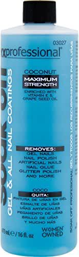 Onyx Professional Soak Off Shellac & Gel Nail Polish Remover Coconut Scented Removes Artificial Nails, Nail Glue, Glitter Polish & More, 16 oz