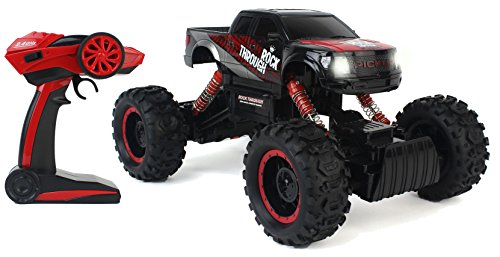 - Velocity Toys Cross-Country Racing Rock Crawler 4WD Toy Black Rally Truck RC Car 2.4 GHz 1:14 Scale Size w/ Working Suspension, Spring Shock Absorbers