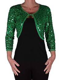 Scarlett Sequin Chiffon Long Sleeve Top Bolero Shrug Cardigan