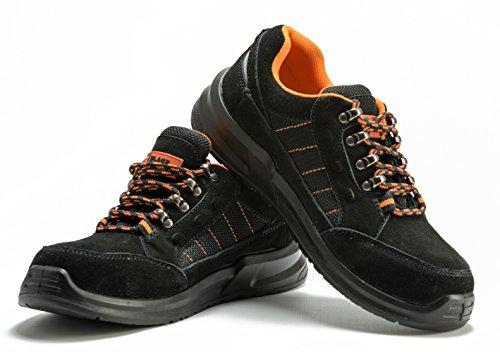 Baskets de sécurité unisexes Black Hammer randonnée pour hommes hauteur cheville avec embout de protection en acier et semelle de protection 9952