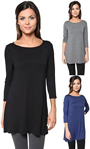 3 Pack: Free to Live Women's Loose Fit Long Elbow Sleeve Jersey Tunics