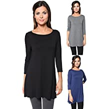 Free to Live 3 Pack Women's Loose Fit Long Elbow Sleeve Jersey Tunics