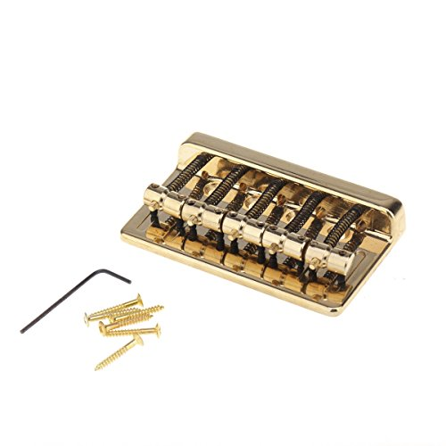 Musiclily 5 String Metal Bass Guitar Bridge for Precision Jazz Bass, Gold