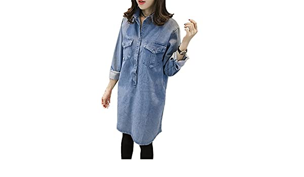 ... Plus Size Women Denim Dress Fashion Spring Autumn Vintage Long Sleeve Jean Shirt Dress Casual Loose Jean Dresses Vestido light blue5XL Fashion: Clothing