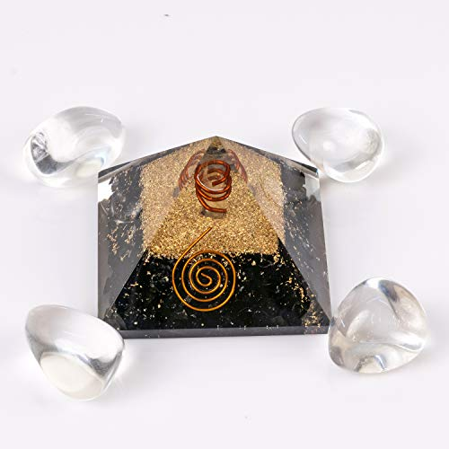 - Divine Magic Crystal Pyramid Large Black Tourmaline Orgone Pyramid Clears Negative Energy, Reduces Tension, Stress | Clear Quartz Tumbled Stones Set Raises Positive Energy