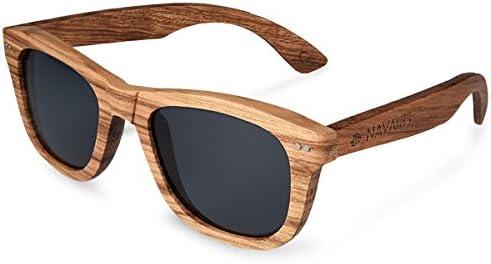 Navaris lunettes de soleil – Lunettes polarisées UV400 en bois zébré – Homme femme – Bois de skateboard – différentes couleurs