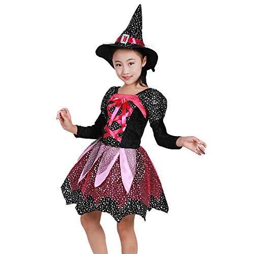 Clearance Sale!Toimoth Toddler Kids Baby Girls Halloween Clothes Costume Dress Party Dresses+Hat Outfit(Black,120) -