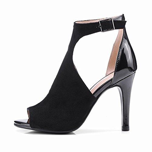 Mee Shoes Damen High Heels Peep Toe Knöchelriemchen Sandalen Schwarz